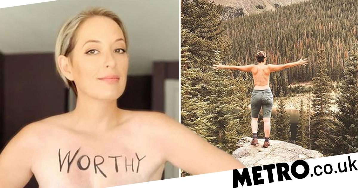 Mum says 'flashing the wilderness' helped her love her post-mastectomy body
